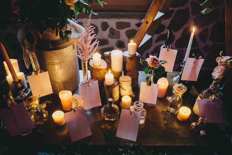tableau de mariage romantico con candele