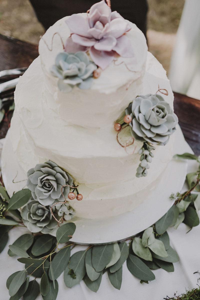 wedding cake con piante succulente