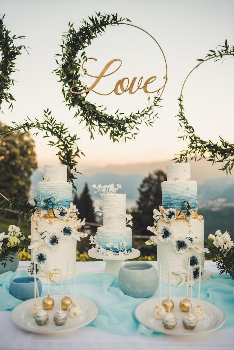 sweet table oro e azzurro