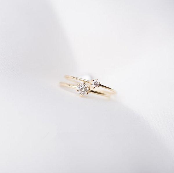 Anello con diamante minimal