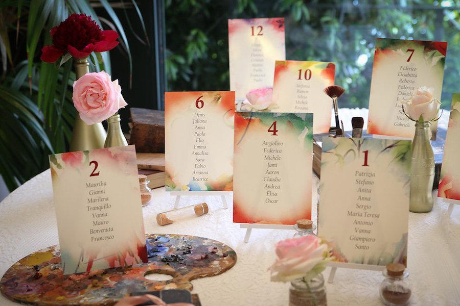 tableau de mariage artistico con acquerelli