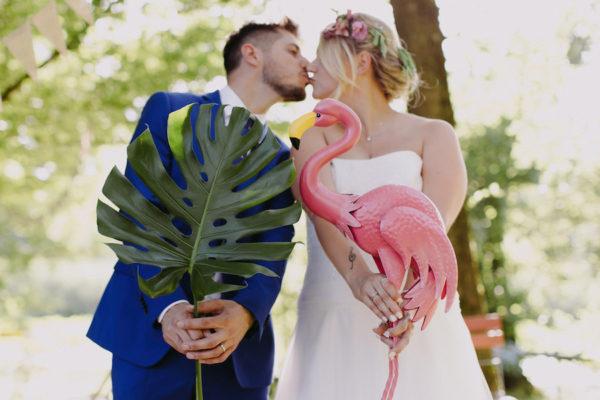 Fenicotteri per un matrimonio tropicale