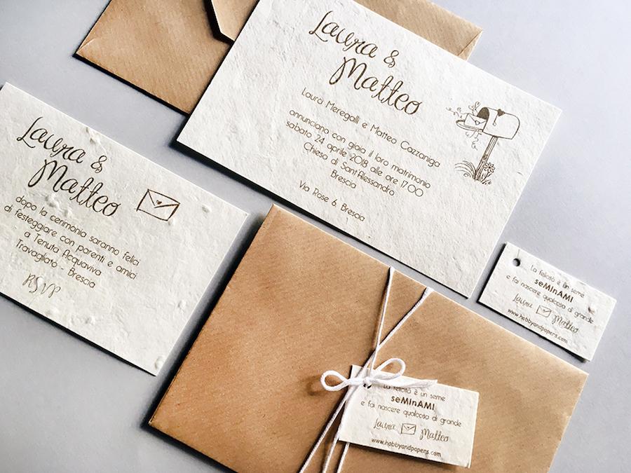 Partecipazioni Matrimonio Wedding.Hobby Papers Partecipazioni Seminabili Per Un Matrimonio Eco