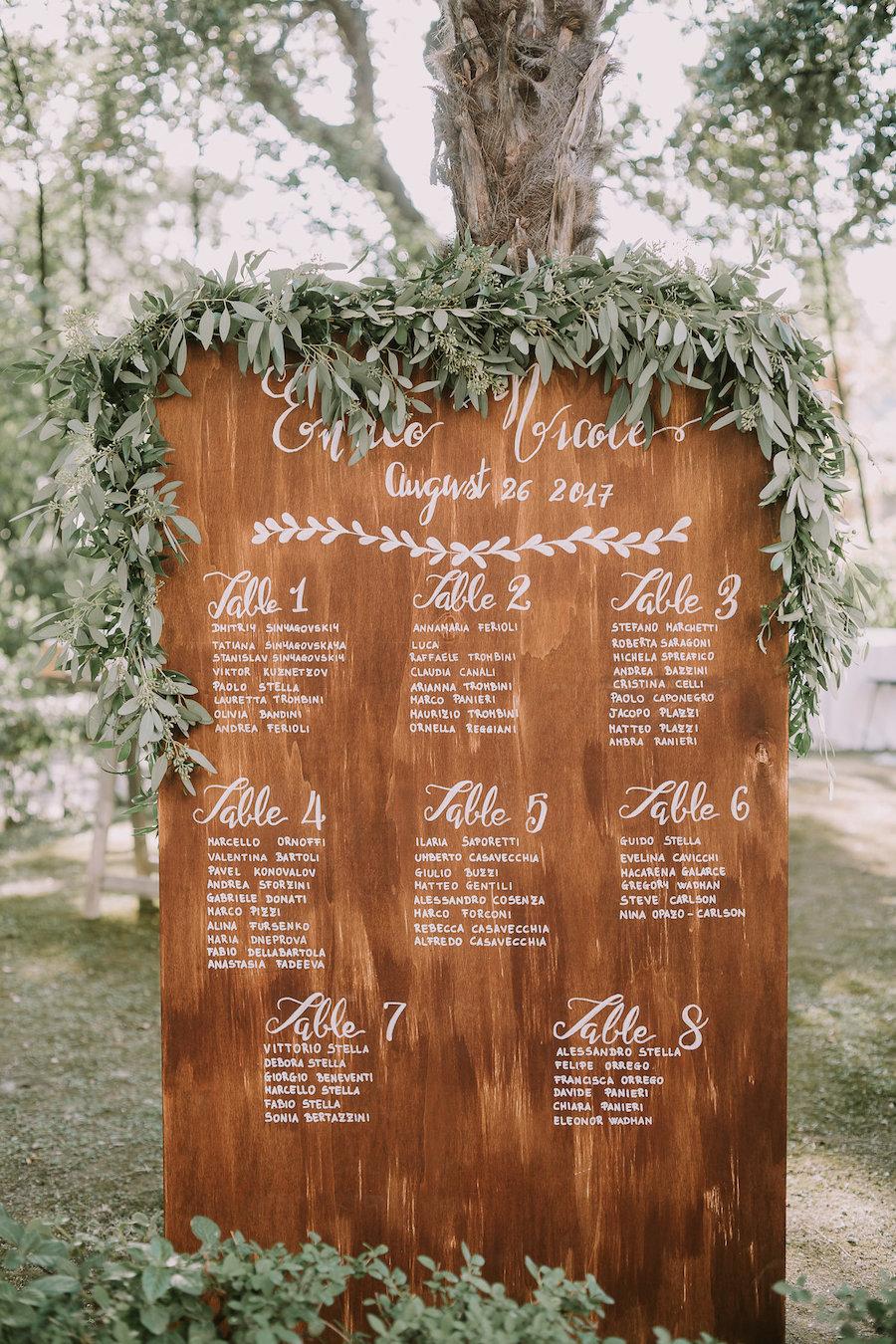 tableau de mariage calligrafico con foliage