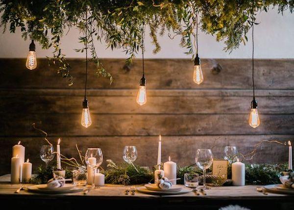 illuminazione matrimonio con lampadine edison e candele