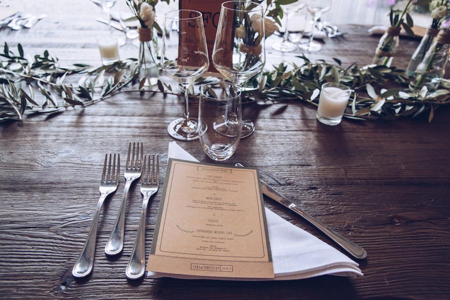 menù matrimonio in carta kraft