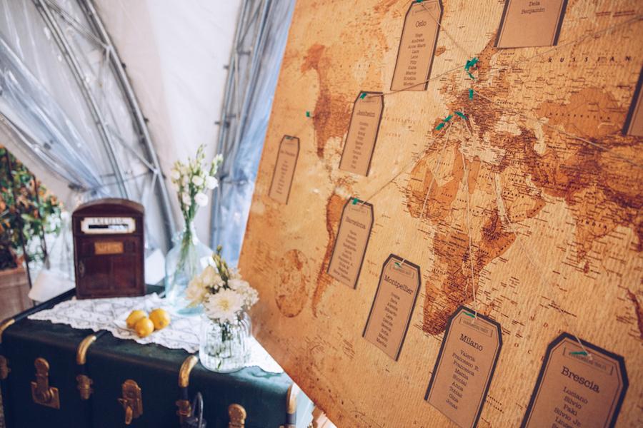 tableau de mariage a tema viaggi vintage