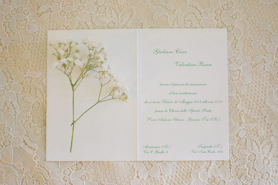 partecipazioni matrimonio con gypsophila