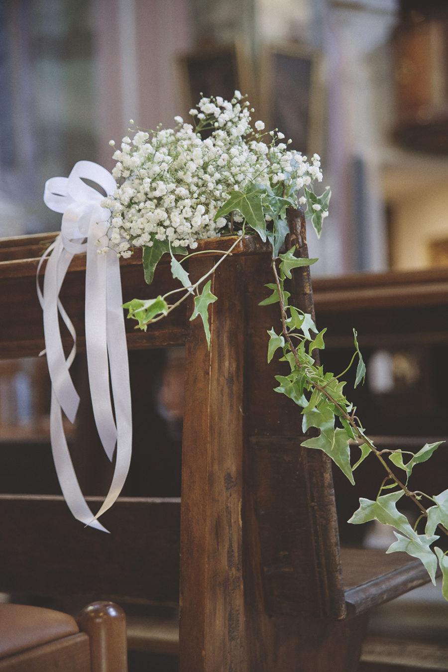 allestimento matrimonio con edera e gypsophila