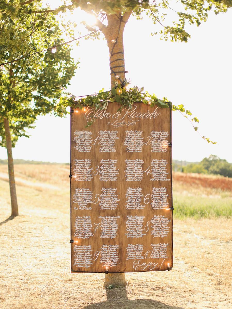 tableau de mariage calligrafico in legno