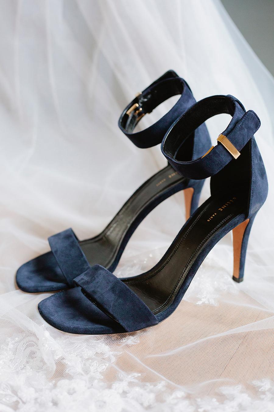 sandali di velluto blu céline