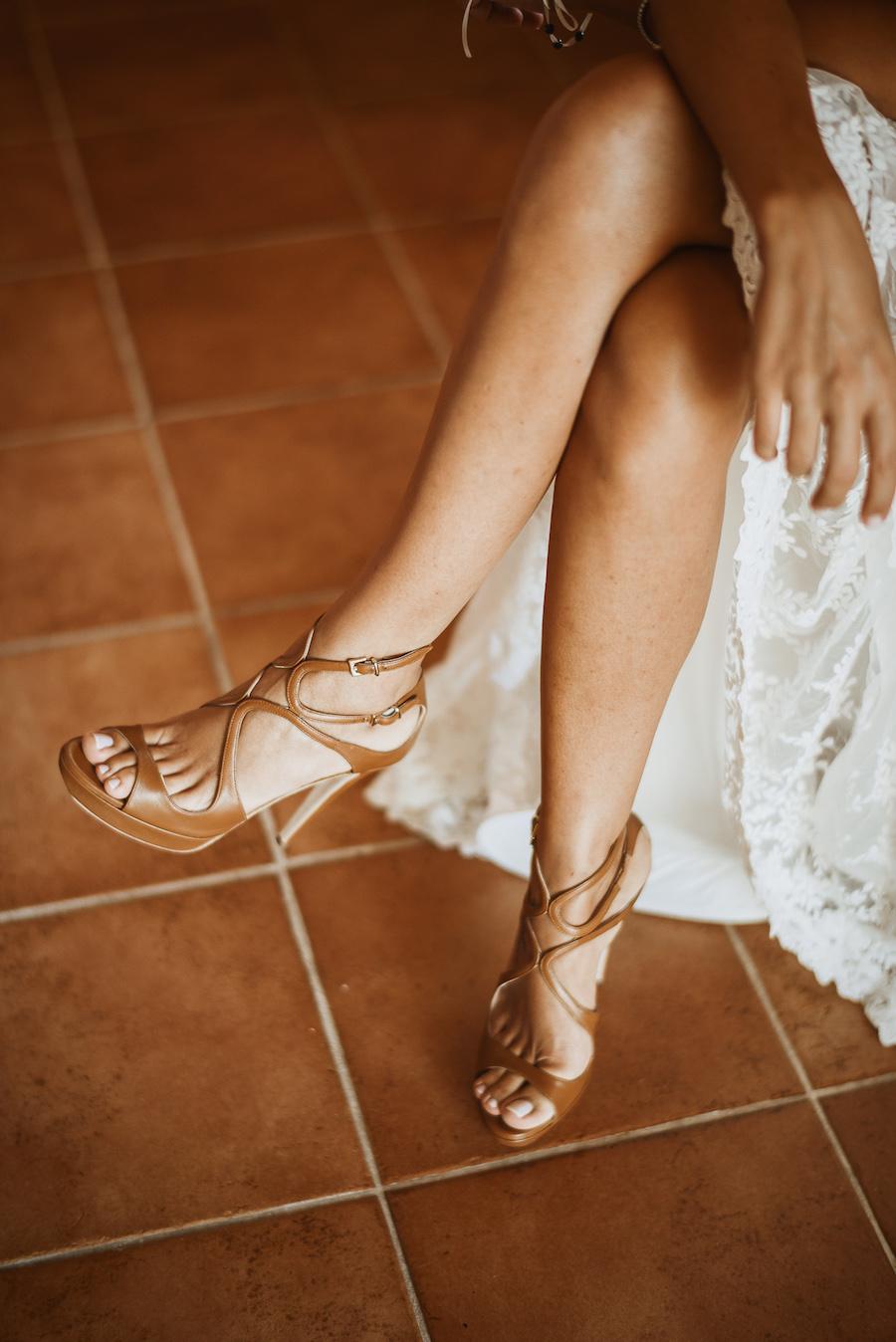 sandali da sposa colori cuoio
