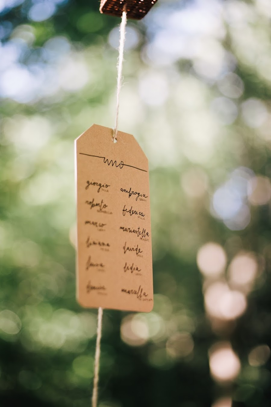 tableau de mariage con targhette