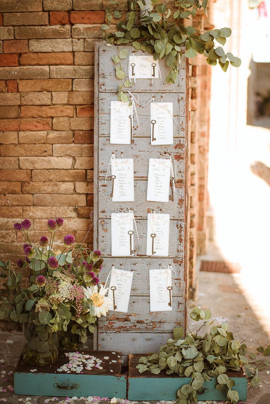tableau de mariage con chiavi vintage