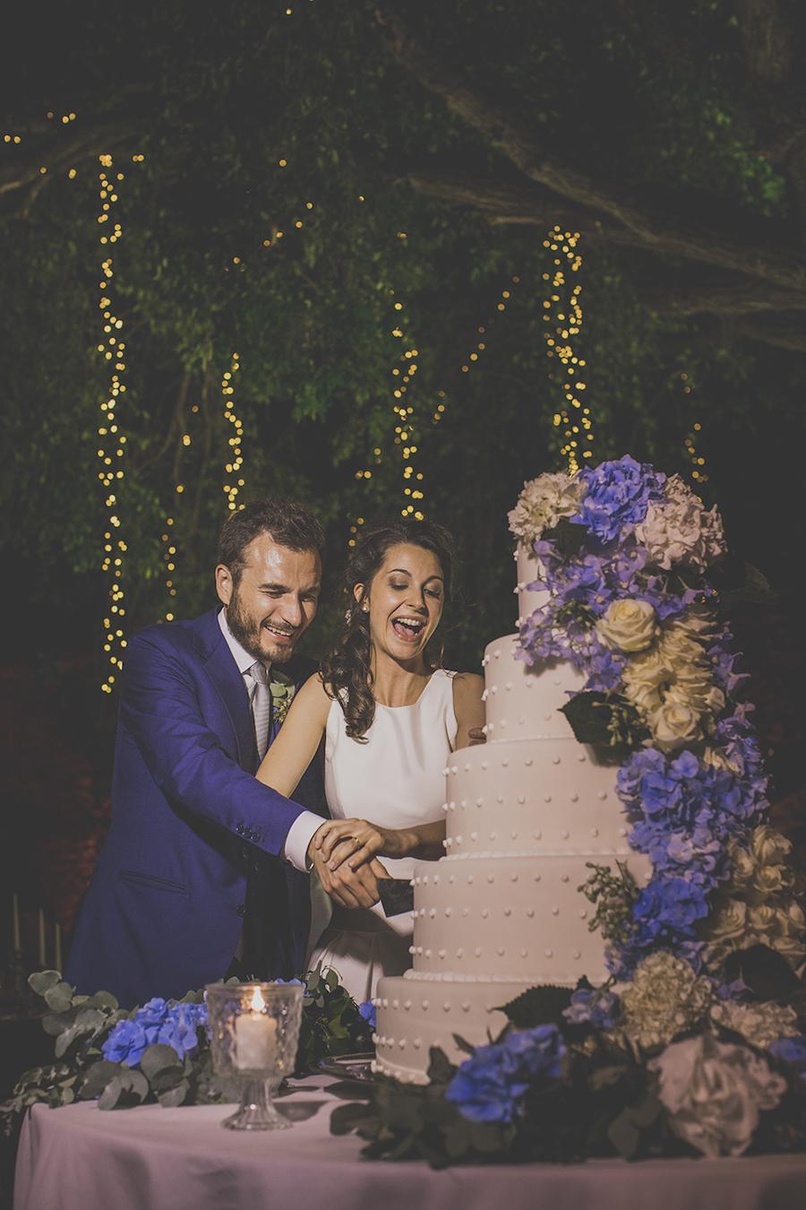 wedding cake bianca e azzurra