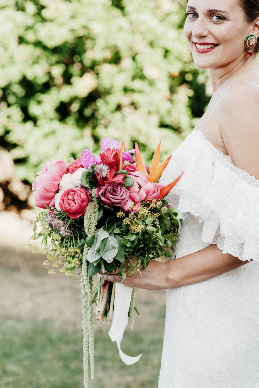 bouquet bohemien colorato