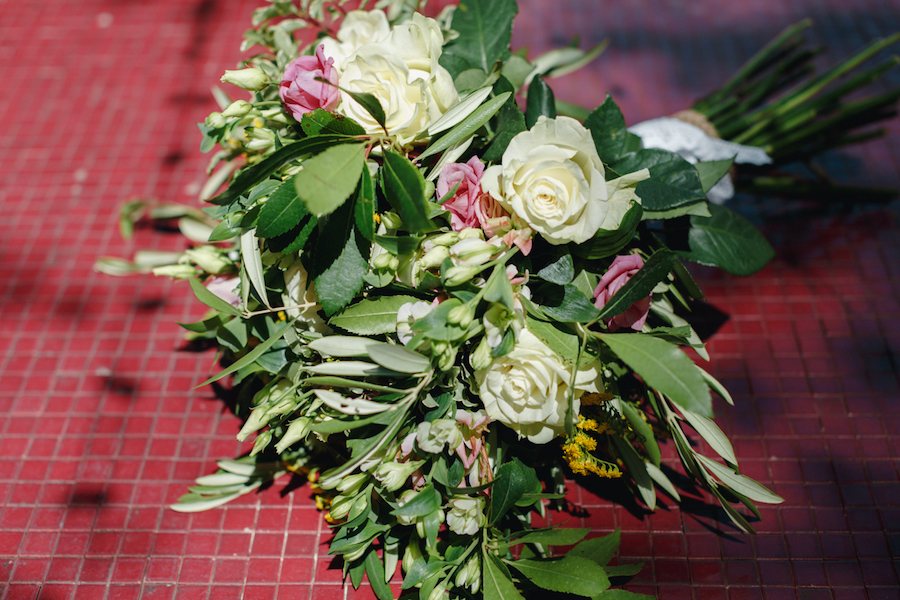 bouquet rosa, bianco, verde