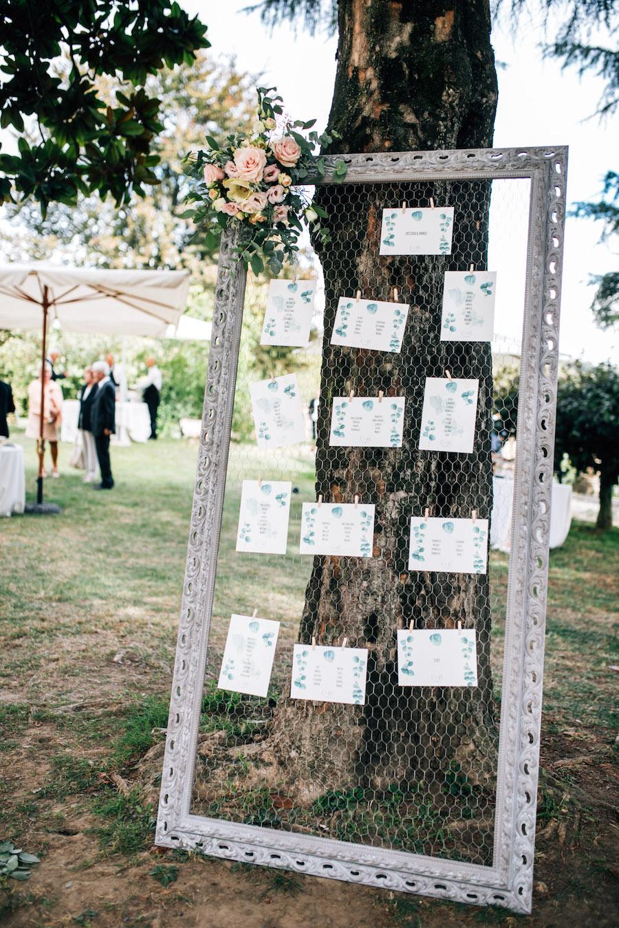 tableau de mariage con rete metallica
