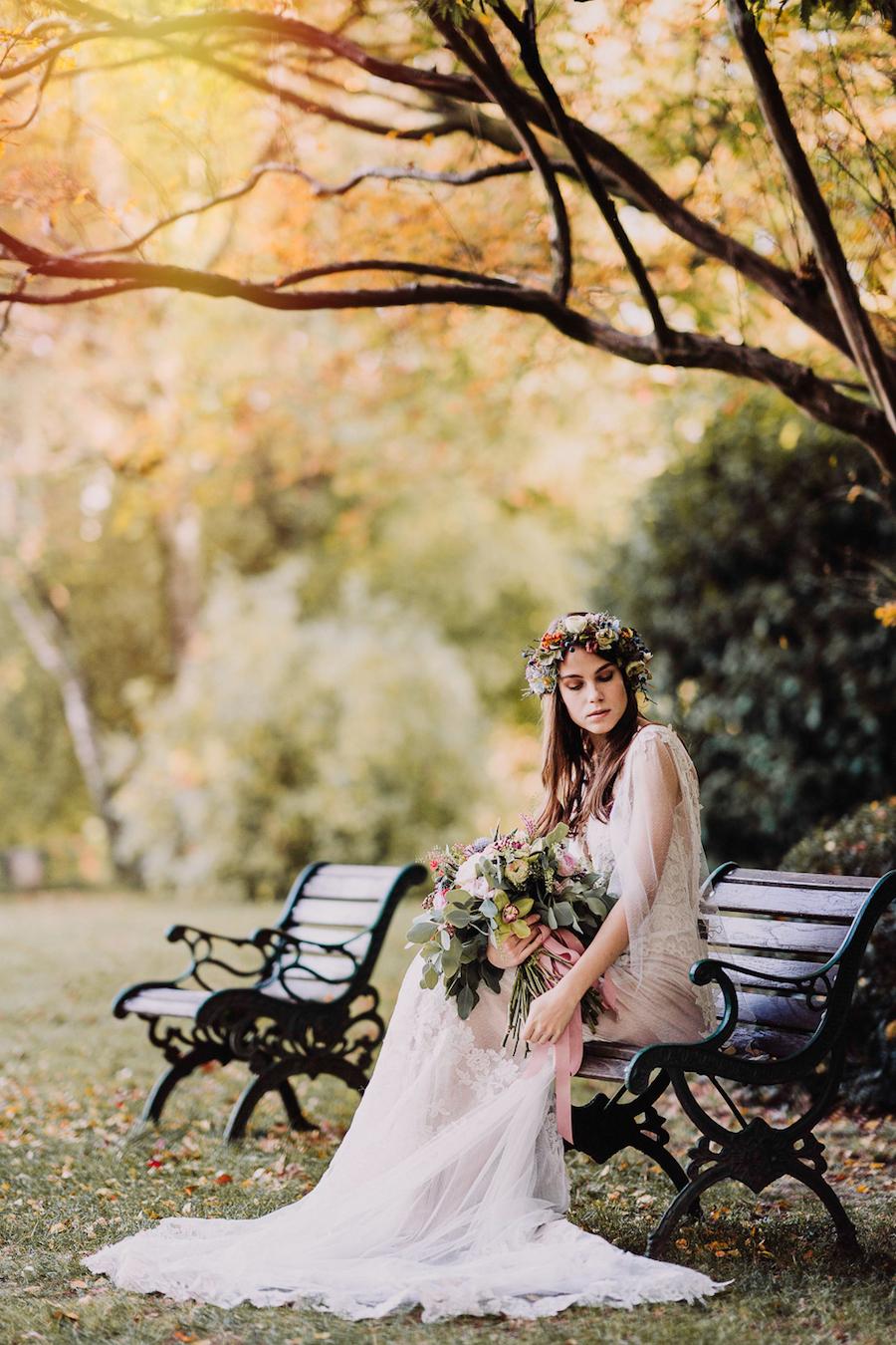 sposa romantica autunnale