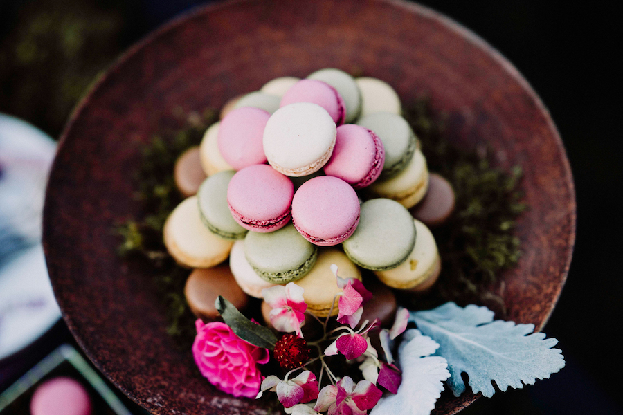 macaron rosa e verdi
