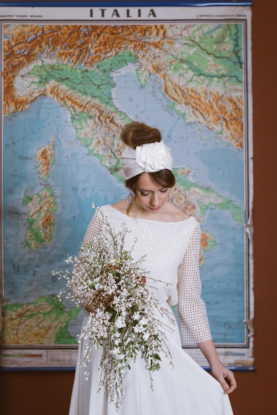 sposa anni '70 con turbante