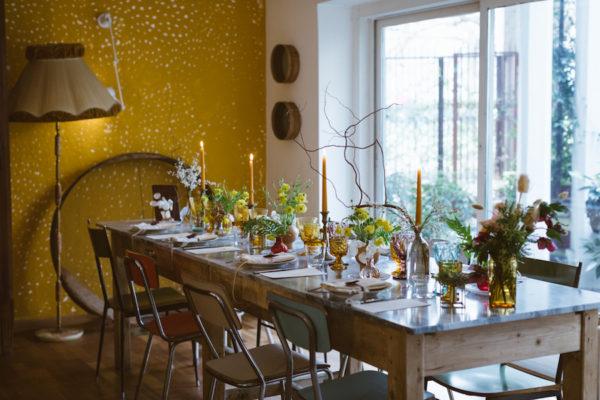 tavola matrimonio vintage senape