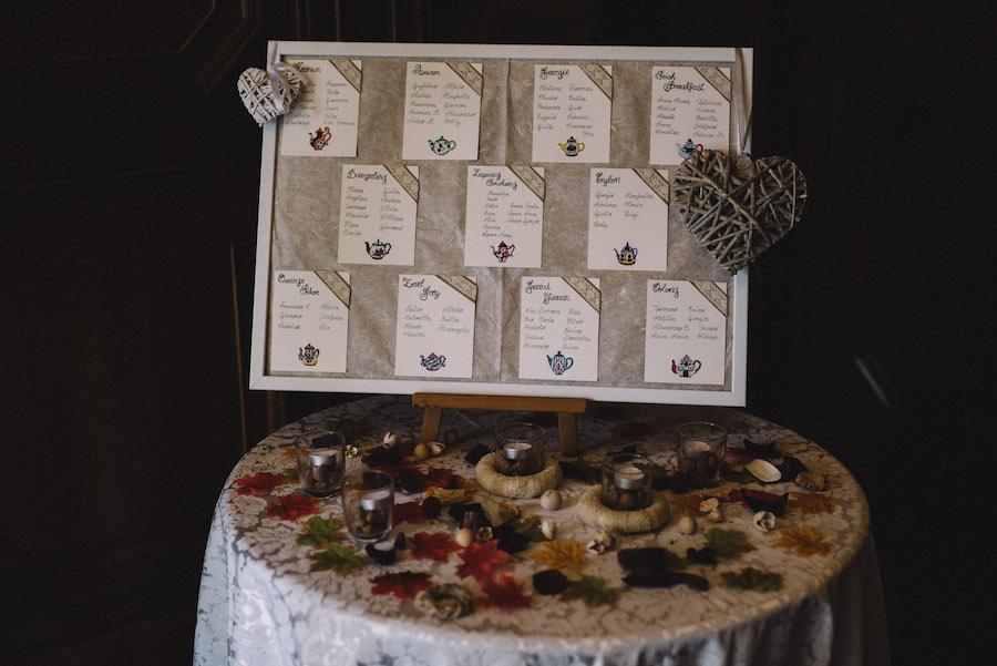 tableau de mariage ispirato al tè
