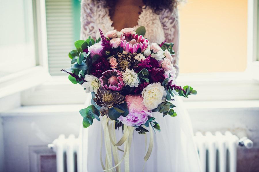 bouquet boho chic con protee