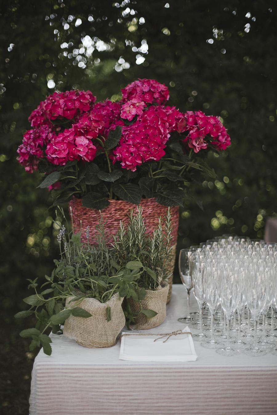 allestimento matrimonio con erbe aromatiche