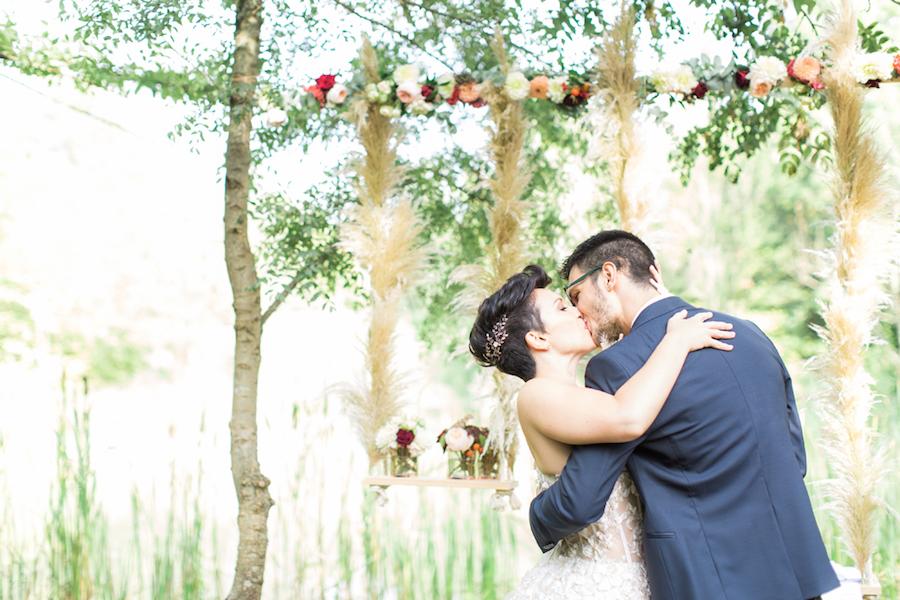allestimento matrimonio con pampas