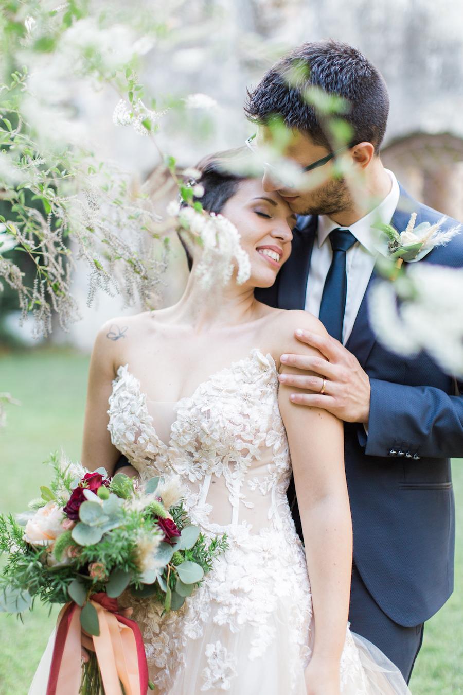 abito da sposa con corpetto trasparente