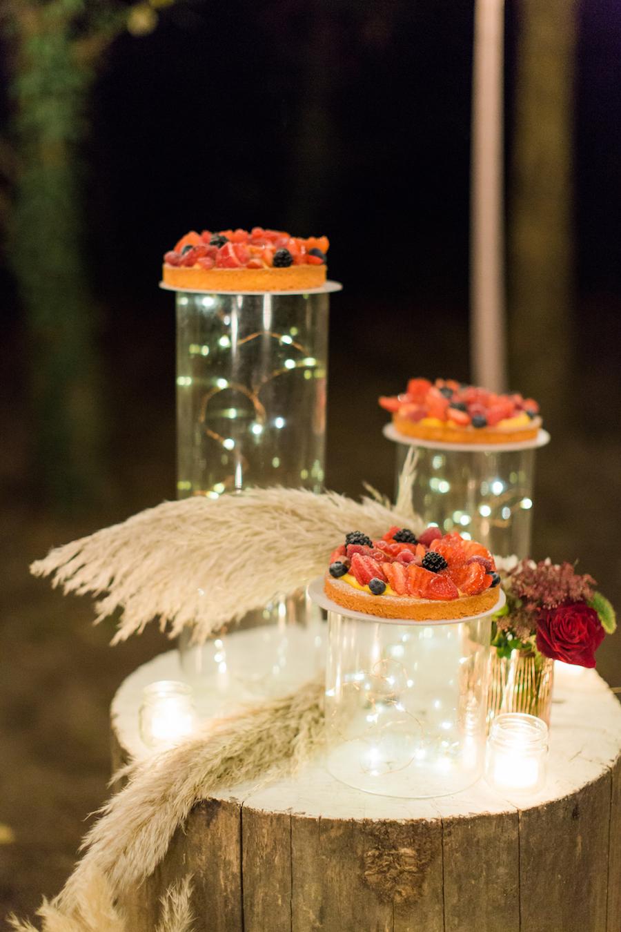 tavolo wedding cake con pampas
