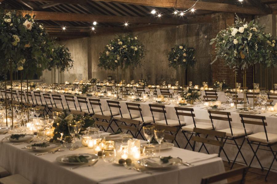 tavola matrimonio invernale industriale