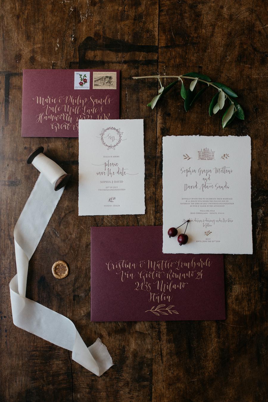 partecipazioni matrimonio vinaccia e oro