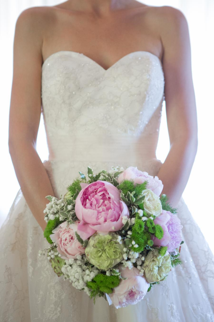 bouquet con peonie rosa