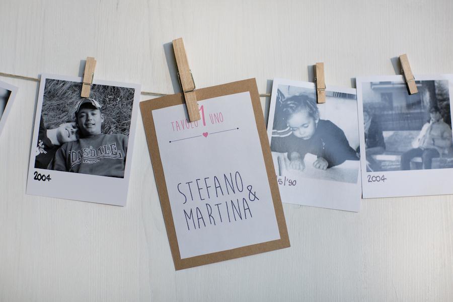 tableau de mariage con foto degli sposi