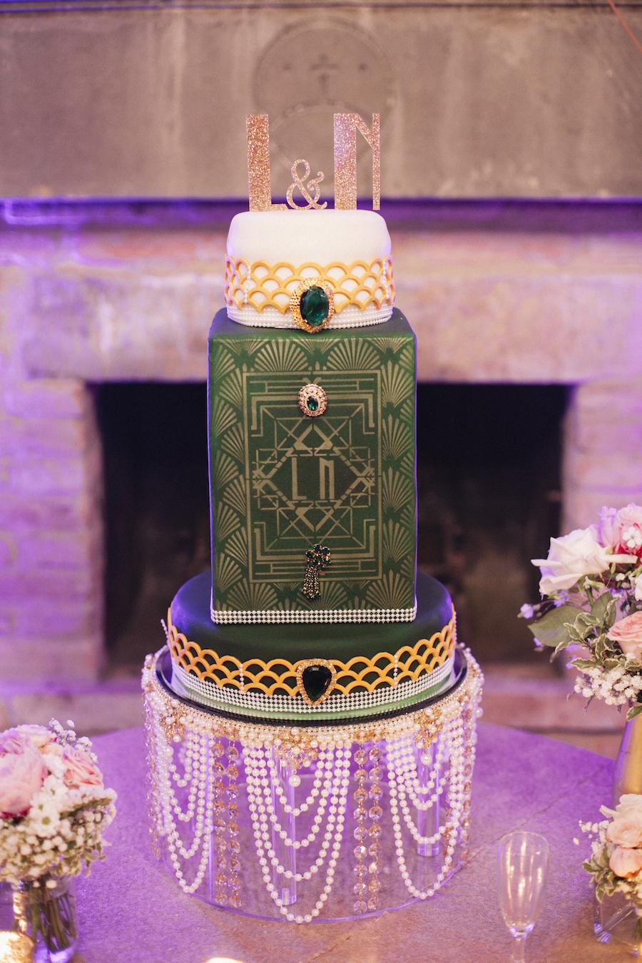 torta verde e oro matrimonio anni '20