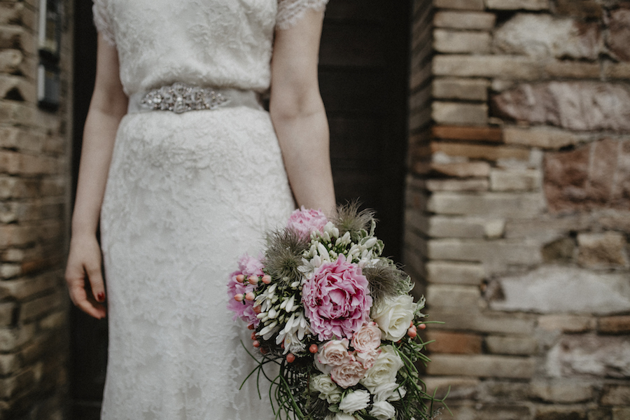 bouquet vintage rosa e bianco