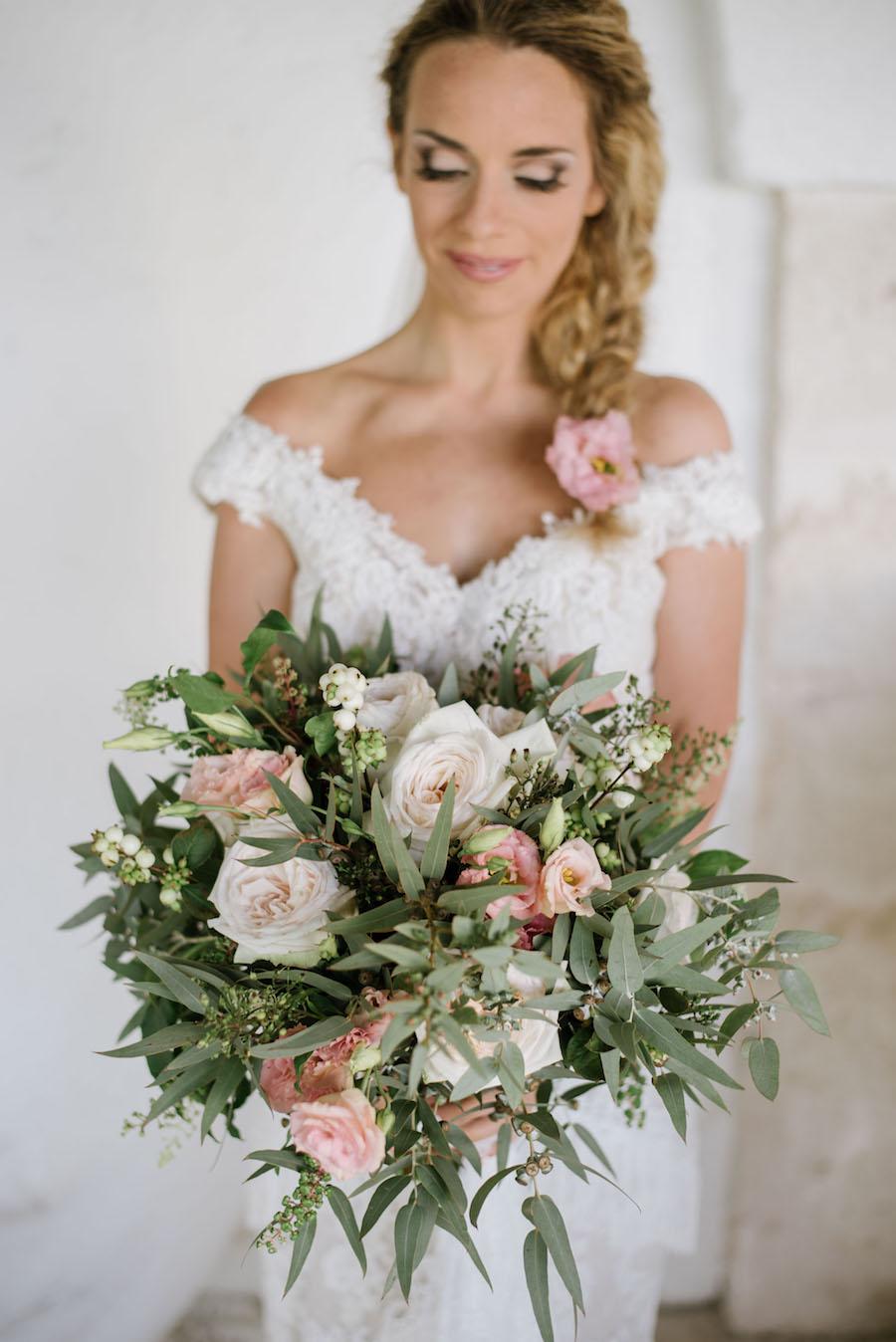 bouquet rosa bianco e verde