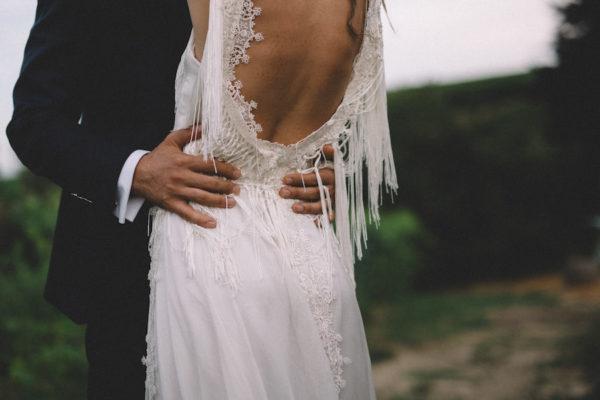 abito da sposa con frange