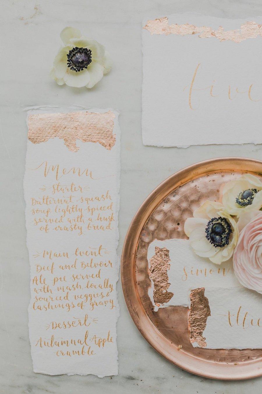 coordinato grafico matrimonio oro rosa