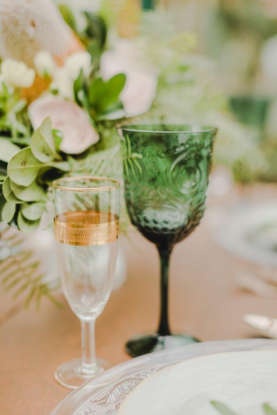 bicchieri oro rosa e verde