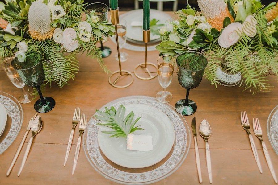 tavola matrimonio botanico oro rosa