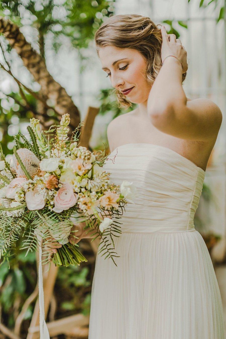 bouquet bohemien rosa e verde