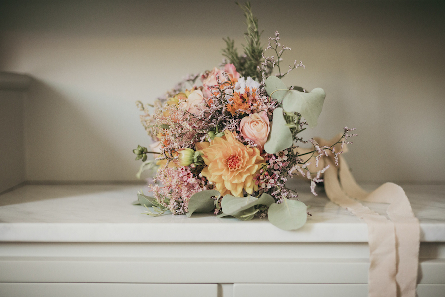 bouquet rosa e arancione