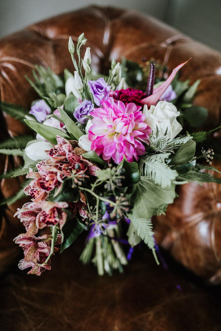 bouquet rosa e viola