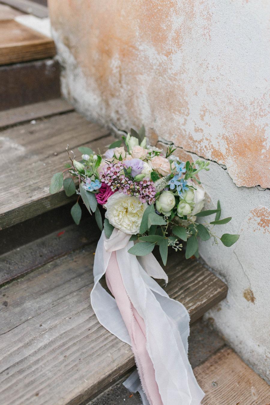 bouquet rosa, azzurro, lilla e fucsia