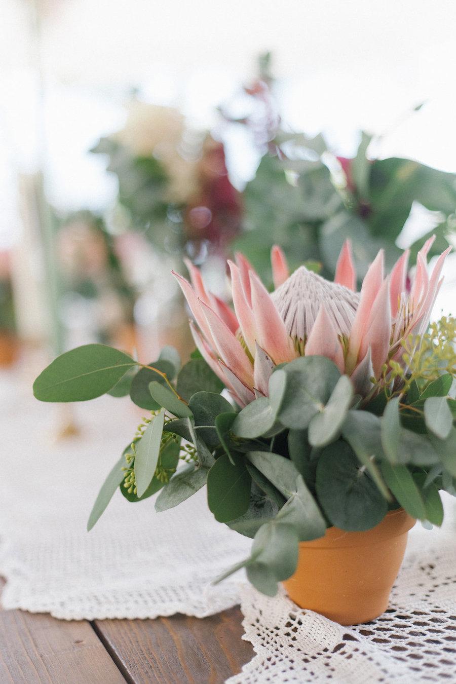 centrotavola con protea ed eucalipto