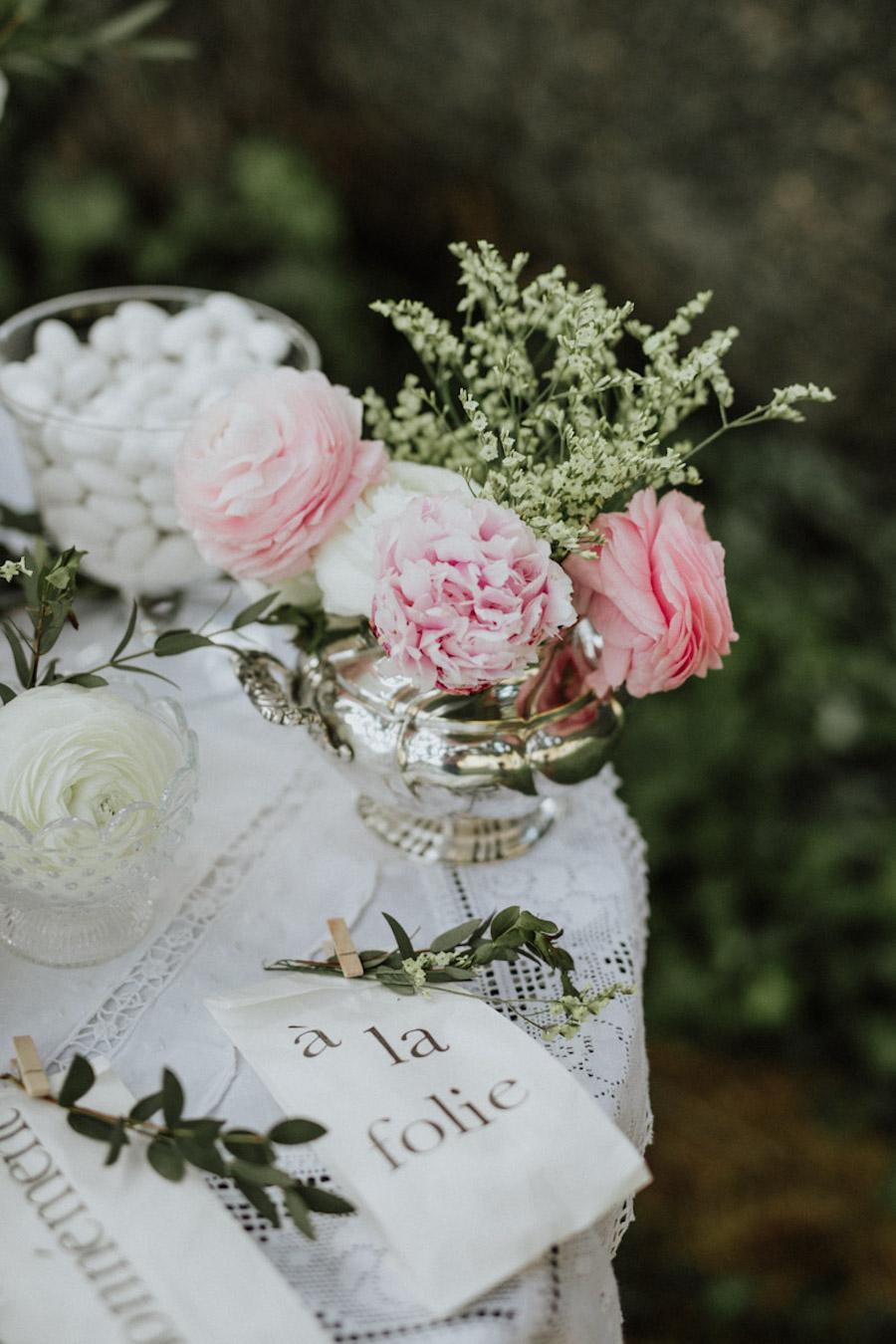 sweet table rosa e bianco