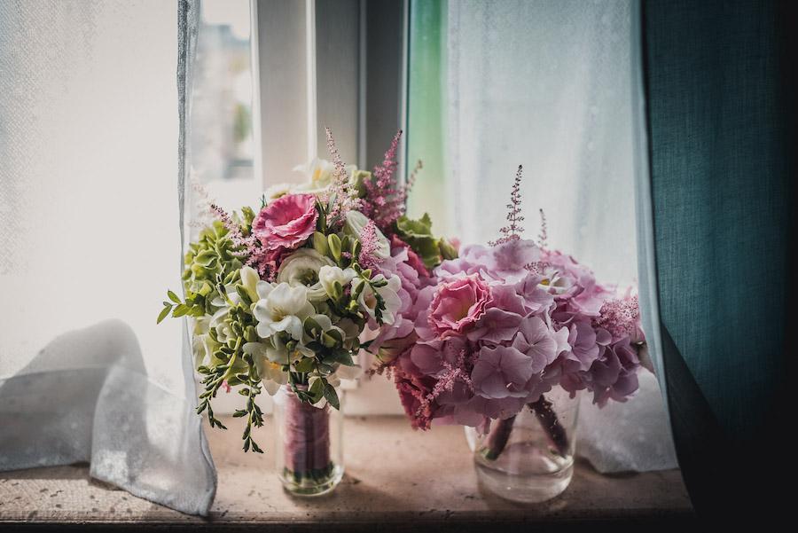 bouquet bianco e fucsia